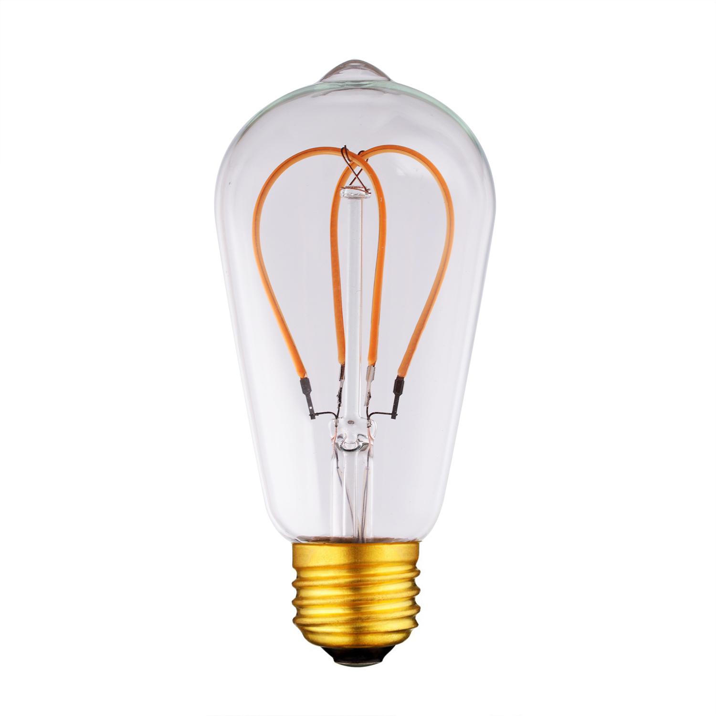 ST64 Heart Bulb Filament led curved bulb