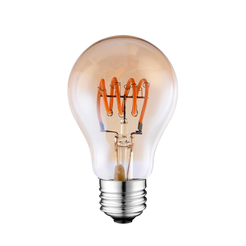 A19 LED spiral filament light bulb